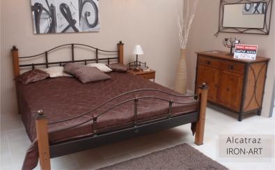 Bett Holz und Metall 160 x 200