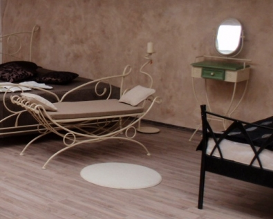 Bettbank, Sitzbank Siracusa aus Metal, creme Farbe