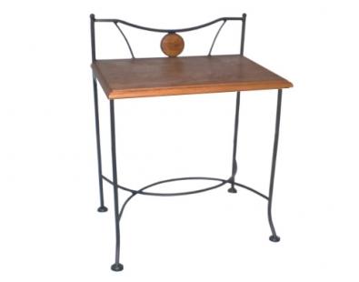 Nachttisch Stromboli aus Eisen und Massivholz