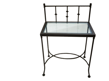 nachttisch amalfi mit glas schmiedem bel metallm bel iron art. Black Bedroom Furniture Sets. Home Design Ideas