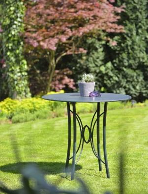 Gartentisch rund mit Blechplatte